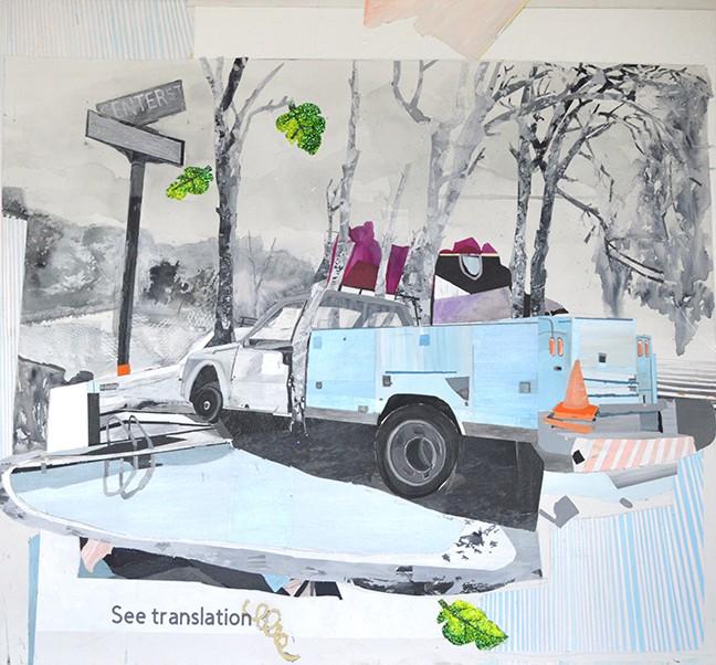 """Bifurcated Translation"" by Jenny Day, acrylic and misxed medium, at Davis Dominguez Gallery"
