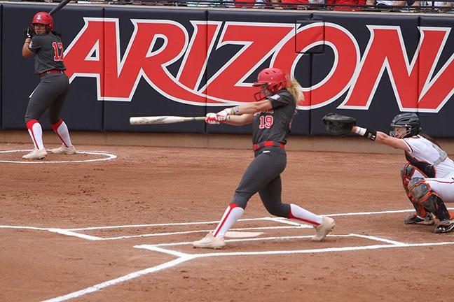 Arizona junior shortstop Jessie Harper hit three home runs in the Wildcats' 12-3 win over Auburn in the NCAA Softball Tournament Tucson Regional championship game on Sunday, May 19. - CHRISTOPHER BOAN