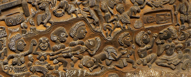 Detail of Story Board by unknown New Guinea artist, wood, charcoal and lime, not dated.