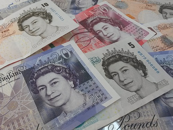 British Sterling Pound notes.