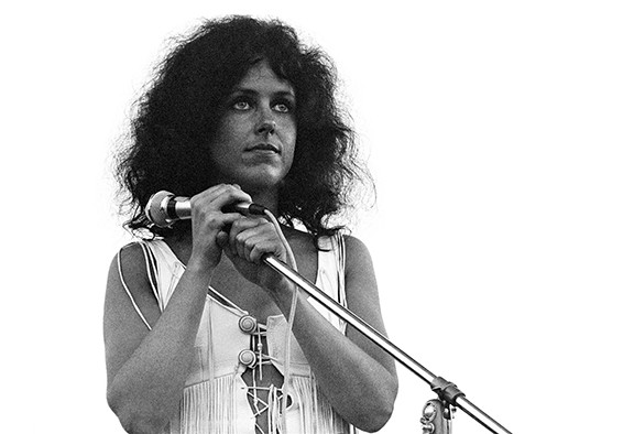 Grace Slick staring out over the crowd at the start of Jefferson Airplane's set. - TIM FULLER