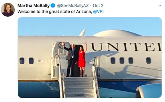 Republican Martha McSally creates an image for Democrat Mark Kelly to use in his campaign to oust her from the U.S. Senate.
