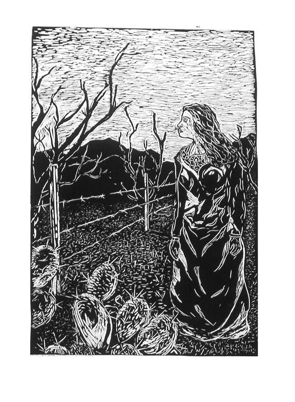 """Juan Enriquez's """"La Llorona,"""" a linocut picturing the legendary wailing mother, is at Davis Dominguez Gallery until Nov. 9."""