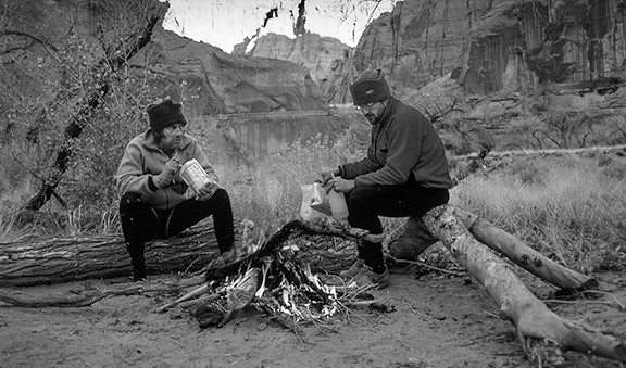 Charles Bowden and Jack Dykinga retracing John Lee's winter trip down the Paria River, 1986