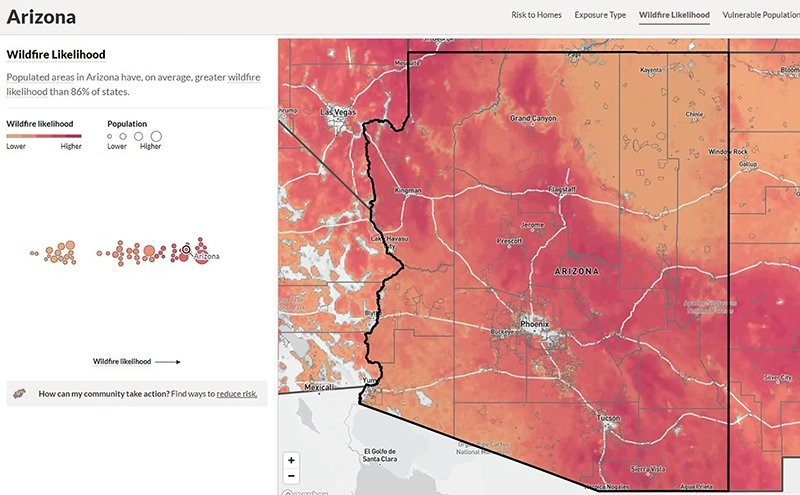 With its climate and large expanses of wilderness, it's no surprise that Arizona has a relatively high likelihood of wildfires, but that risk affects communities more than in other states. (Photo courtesyn U.S. Forest Service)