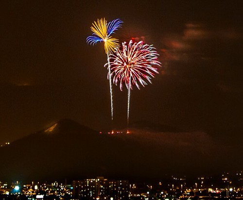 The city's 4th of July display over A Mountain. - LEIGH SPIGELMAN