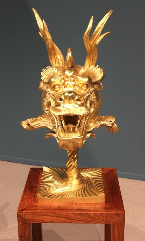 """Circle of Animals/Zodiac Heads: Gold, Dragon,"" by Ai Weiwei, 2010, bronze with a gold patina."