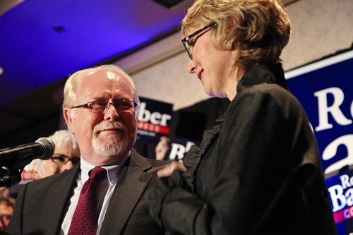Congressman-elect Ron Barber was joined on Election Night by an elated Gabrielle Giffords years ago.