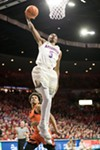 Freshman forward Brandon Randolph throws down a dunk against the University of Oregon on Jan. 13.