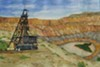"""Bisbee Copper Mine Shaft,"" watercolor by Fiona Lovelock, on exhibit in Copper State, continuing at Tohono Chul Park Exhibit House through Feb. 6"