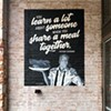 """""""You learn a lot about someone when you share a meal together"""" - Anthony Bourdain // Mural by Modern Aquarian , on the Ten55 patio"""