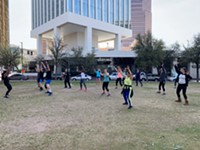 Inspired Fitness hosting a free class in the park at Jacome Plaza Downtown. - Uploaded by Zachary Baker