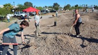 The project involves creating raingardens along the roadways that will both stop flooding and create a shady, beautiful community space. - Uploaded by Watershed MG