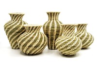 Finely woven basket vases by Tohono O'odham artist Laurie Manuel - Uploaded by lmarinaro